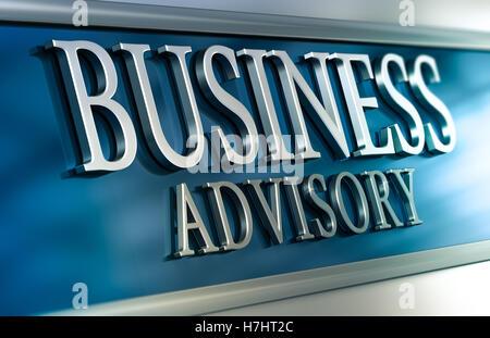 3D-Darstellung eines Business Advisory Plakette mit blauen und grauen Tönen. Bild horizontal. Konzept der Beratung Stockbild