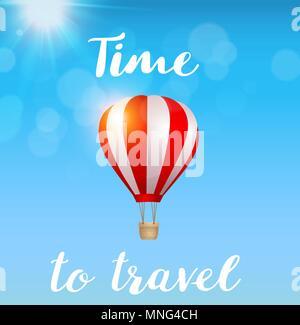 Rote Heißluftballon fliegen in den blauen Himmel. Travel Concept. Vector Illustration. Stockbild