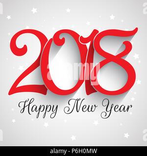 Frohes Neues Jahr Hintergrund mit dekorativen Typografie design Stockbild