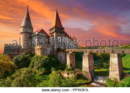 Corvin Burg Hunedoara, Siebenbürgen, Rumänien Stockbild