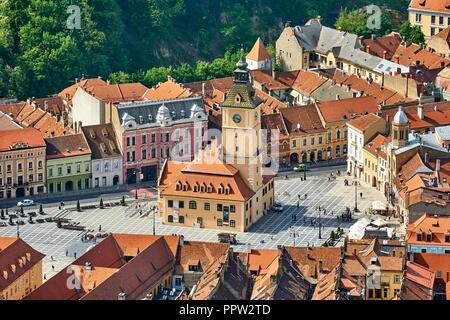 Luftbild der Altstadt in Kronstadt, Siebenbürgen, Rumänien Stockbild