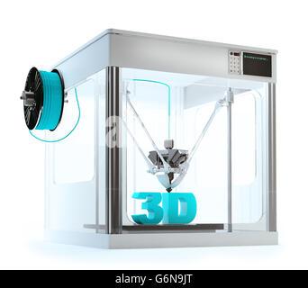 3D-Drucker Maschine drucken einen 3D Text - rapid-Prototyping 3D illustration Stockbild
