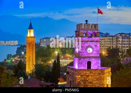 Clock Tower, Kaleici Altstadt, Alanaya, Türkei Stockbild