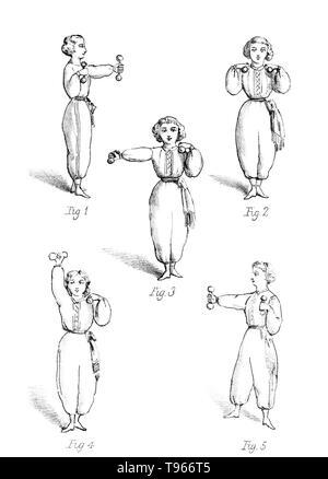Gymnastik für Damen: Eine Abhandlung über die Wissenschaft und die Kunst der calisthenic und gymnastischen Übungen von Madame Brenner. Das Modell in dieser Abbildung ist das Training mit Dumb-Bells. Die Hantel, eine Art der freien Gewicht, ist ein Stück der Ausrüstung im Kraftsport eingesetzt. Sie können einzeln oder in Paaren, mit einen in jeder Hand. Stockbild