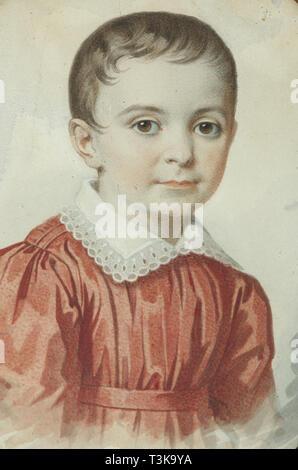 Portrait von Eugenia Kochubey als Kind, 1849. In der Sammlung der Staatlichen V. Tropinin-Museum, Moskau gefunden. Stockbild
