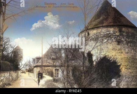 Gerberbastei, 1915, Landkreis Bautzen, Bautzen, Alter Turm, Herberge für Jugendwanderungen, Deutschland Stockbild