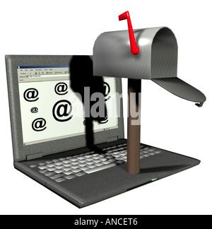 Notebook mit einem Postfach als Symbol für e Mails Stockbild