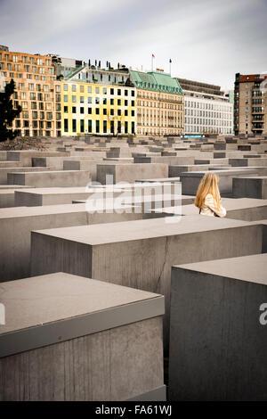 Denkmal für die ermordeten Juden von Europa Berlin Holocaust-Mahnmal für Deutschland Bereich der Stelen Stockbild