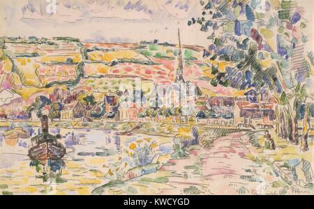 Petit Andely-The River Bank, von Paul Signac, 1920-29, French Post-Impressionist Aquarell Malerei. Dies ist ein Stockbild
