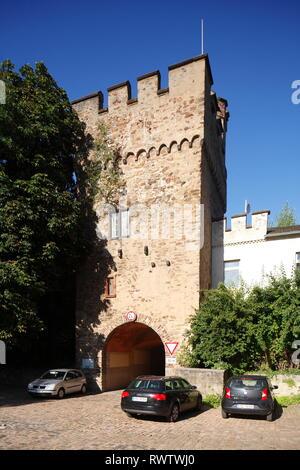 Sadttor, mittelalterlicher Wehrturm, Lahnstein, Unesco Weltkulturerbe Oberes Mittelrheintal, Rheinland-Pfalz, Deutschland Stockbild