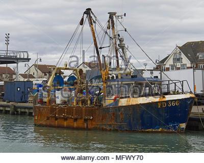 Rusty Fischerboot Portsmouth England Großbritannien Stockbild