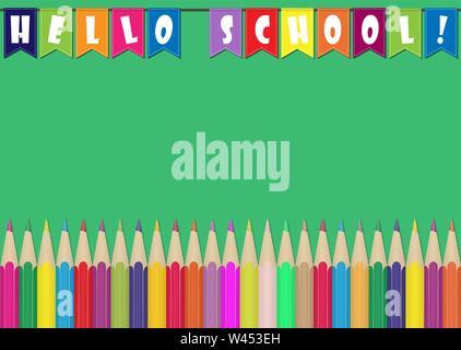 Satz von Buntstiften und bunten Fahnen mit der Aufschrift Hallo Schule. Abbildung für Design und Dekoration von Kinder- und Schule Bilder. Stockbild