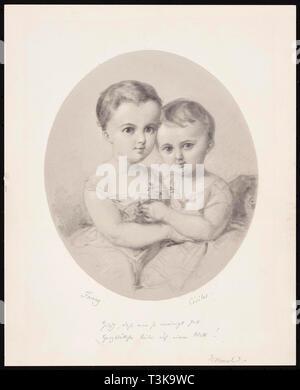 Der enkelinnen Fanny und Cécile Hensel, ca 1860. In der Sammlung von mendelssohn-haus Leipzig gefunden. Stockbild