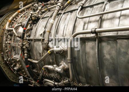 Nahaufnahme von Vintage Jet Engine Stockbild