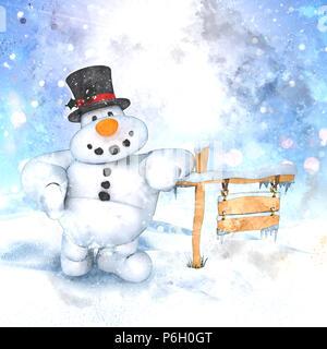 Aquarell von einen Schneemann in einer Winterlandschaft Stockbild