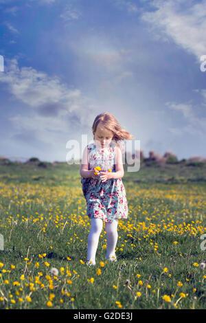 ein 3-jähriges Mädchen läuft durch eine Blumenwiese Stockbild