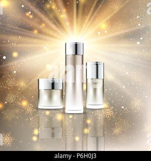 Leer Weihnachten Kosmetik Flasche auf einem goldenen Schneeflocken Hintergrund Stockbild