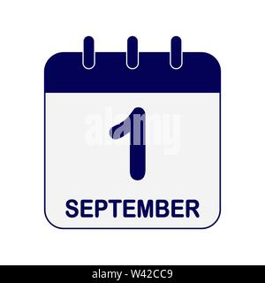 Kalenderblatt mit Datum September 1, flache Bauform. Stockbild