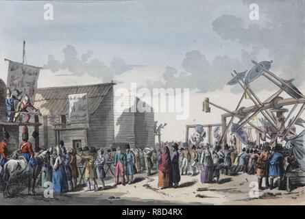 Swing Fahrt bei einem russischen Messe, 1821. In der Sammlung des Staatlichen Museums für A.S. Puschkin, Moskau gefunden. Stockbild