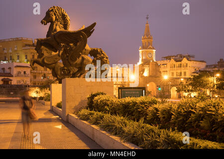 Plaza de la Paz und die Altstadt in der Morgendämmerung, Cartagena, Kolumbien Stockbild