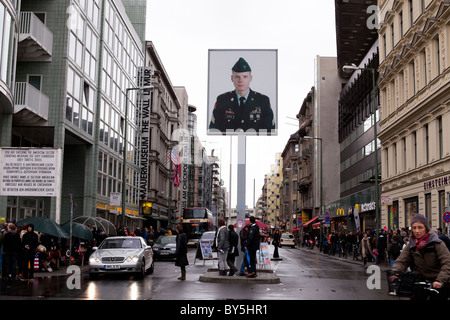 Germany,Berlin.Check Point Charlie Stockbild