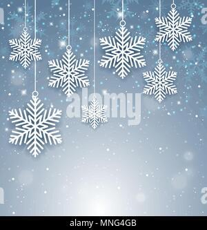 Dekorative Weihnachten Hintergrund mit weißen Papier Schneeflocken. Neues Jahr Grußkarte. Vector Illustration. Stockbild