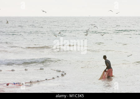 Akurala Strand, Sri Lanka - Dezember 2015 - ein Einheimischer Fischer Rollen in einem riesigen Netz, das ist eine Stockbild