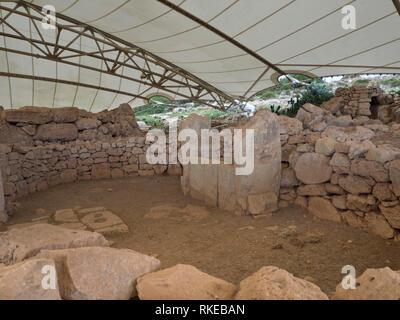 Die alte megalithische Tempel Komplex von ?a?ar Qim in Malta ist ein Unesco Weltkulturerbe Stockbild