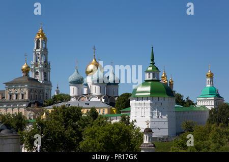 Übersicht, der Heiligen Dreifaltigkeit, Hl. Sergius Lavra, UNESCO-Weltkulturerbe, Sergiev Posad, Russland, Europa Stockbild