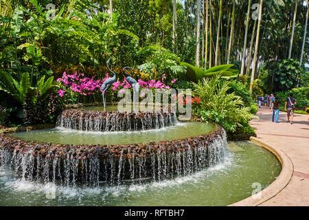National Orchid Garden, Botanischer Garten, UNESCO-Weltkulturerbe, Singapur, Südostasien, Asien Stockbild