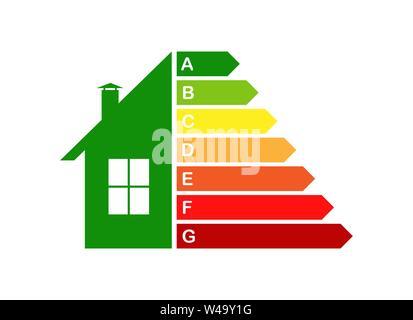 Energieeffiziente Haus, das Konzept der Energieeffizienz der Wohnungen. Stockbild
