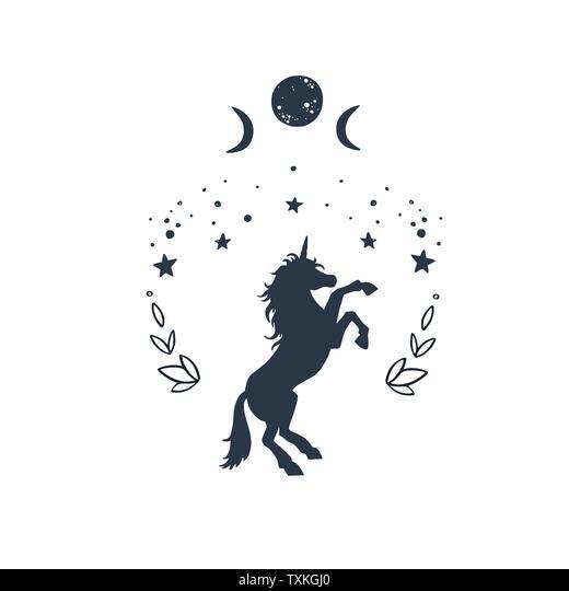 Einhorn im Himmel mit Sternen Traum Duschvorhang
