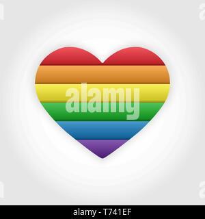 El corazón se compone de seis colores rayas diseño plano LGBT Imagen De Stock