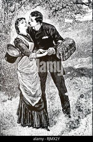 Un grabado representando joven bajando los hongos del canasto. Por William pequeñas (1843-1929). 1882 Impreso Imagen De Stock