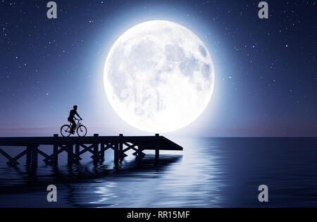 Hombre en bicicleta por el puente bajo la luna,3D rendering Imagen De Stock