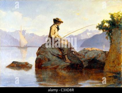Pintura al óleo de un hombre pesca, por Louis David Bocion Franþois. Suiza, del siglo XIX. Imagen De Stock