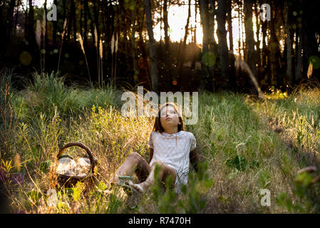 Chica con canasta de picnic recostado en bosque iluminado mirando hacia arriba Imagen De Stock