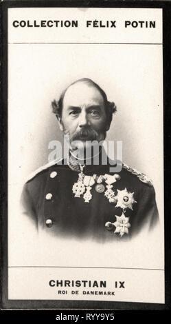 Retrato fotográfico de Christian IX Roi De Danemark Colección de Félix Potin, de principios del siglo XX. Imagen De Stock