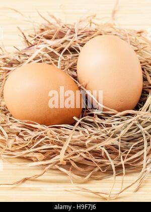 Fresco de Brown de huevos en nido de heno . Imagen De Stock