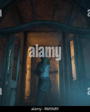 Chica que se perdió en el edificio abandonado,3d ilustración Imagen De Stock