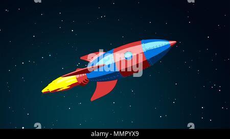 Cartoon cohete volando en el espacio. Ilustración 3D Imagen De Stock