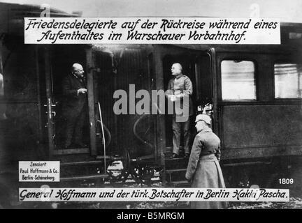 9 1917 12 20 A1 2 las negociaciones de paz en Brest Litowsk Guerra Mundial 1 las negociaciones de paz de las potencias Imagen De Stock