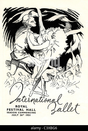 El anuncio internacional de ballet del Festival de Gran Bretaña, programa de recuerdo para el Royal Festival Imagen De Stock