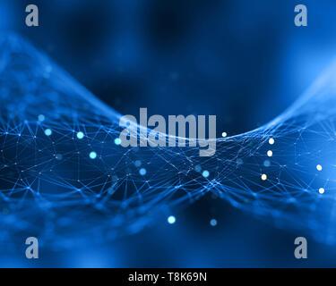 Resumen Antecedentes La red con baja poli diseño con líneas de conexión Imagen De Stock