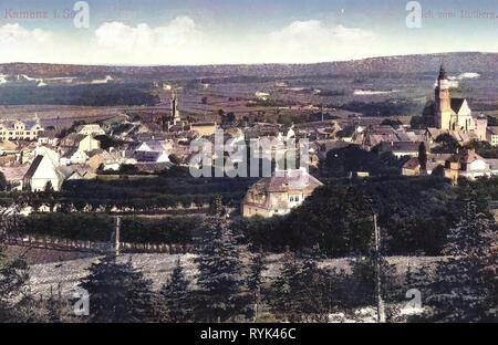 Edificios de Kamenz, Iglesias de Kamenz, Hutberg, Kamenz, 1914, Landkreis Bautzen, Kamenz vom Hutberg, Alemania Imagen De Stock