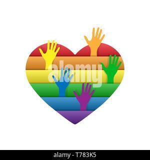 Corazón en los colores de las personas LGBT. Desde el corazón hacia arriba y estirar las manos con los colores de los LGBT Imagen De Stock