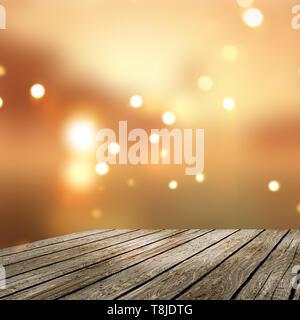 3D Render de una mesa de madera antigua mirando a un bokeh de fondo defocussed luces doradas Imagen De Stock