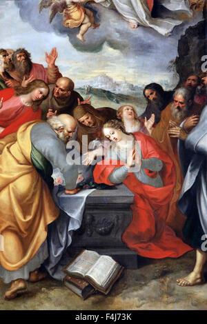 La asunción de la Virgen María por Francois Francken el Joven, Pilar Rojo, la capilla de la Catedral de Imagen De Stock