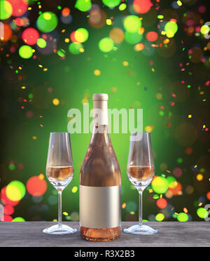 Y dos botellas de champagne de cristal decorado con piso de madera,3D rendering Imagen De Stock