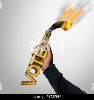 La violencia política y voto violento concepto como un cóctel molotov con forma de botella como un texto con un voto rebelde penal lanzando la bomba de gasolina. Imagen De Stock